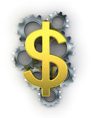 Dollar sign on top of cogs — Stockfoto