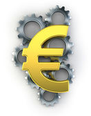 Euro sign on top of cogs — Stockfoto