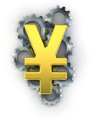 Yen sign on top of cogs — Foto Stock