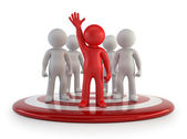 3d small people - team leader — Stock Photo