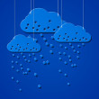 Vector de stock : Cloud style sticker on ropes