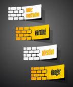 Eps, insieme segno di avvertimento sotto forma di adesivi — Vettoriale Stock
