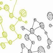 Molécule d'adn dessinés à la main — Vecteur
