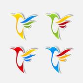 Наклейка колибри — Cтоковый вектор