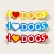 Stock Vector: I Love Dogs, realistic design element