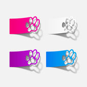 Sticker animal paw, realistic design element — Stock Vector