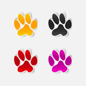 Sticker animal paw, realistic design element — Stock Vector