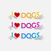 I Love Dogs, realistic design element — Stock Vector