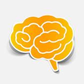 Autocollant de cerveau, élément de conception réaliste — Vecteur