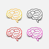 Brain sticker, realistic design element — Stock Vector