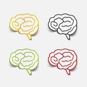 Brain sticker, realistic design element — Stock Vector