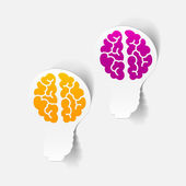 Elemento di disegno realistico: lampada del cervello — Vettoriale Stock