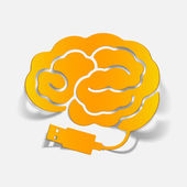 Realistic design element: brain-usb, plug — Stock Vector