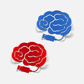 Realistic design element: brain-usb, plug — Vecteur