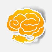 Realistic design element: brain-usb, plug — Stock Vector