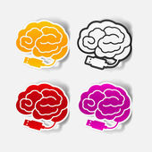 Realistic design element: brain-usb, plug — Vector de stock