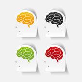 Realistic design element: head face brain — Stockvektor