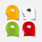 Realistic design element: head face brain — Wektor stockowy