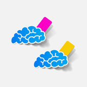 Realistic design element: brain, rectangle, seam — Stock Vector