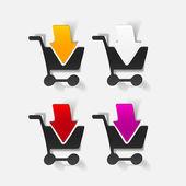 Elemento de design realista: carrinho de supermercado, seta — Vetorial Stock
