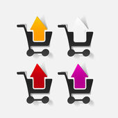 Realistic design element: grocery cart, arrow — Vector de stock
