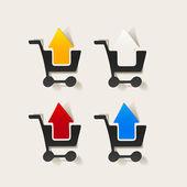 Realistic design element: grocery cart, arrow — Stock Vector