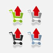 Elemento de diseño realista: carro de supermercado, flecha — Vector de stock