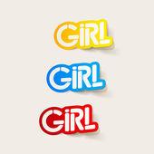 Realistic design element: girl — Stock Vector