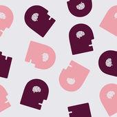 Seamless background: brain, head, face — Stock Vector