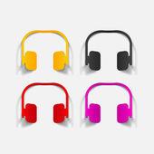 Realistic design element: headphones — Stock Vector