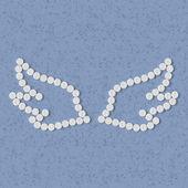 Concetto di pillole: ala, piuma, angelo — Vettoriale Stock
