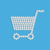Pills concept: shopping, trolley — Stock Vector