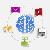 Social concept: envelope, computer, brain, wallet — Wektor stockowy