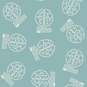 Seamless background: brain, usb, plug — Vector de stock