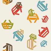 Seamless background: shopping, basket — Wektor stockowy