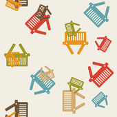 Seamless background: shopping, basket — Stock Vector