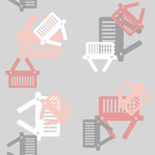 Seamless background: shopping, basket — Stock Vector