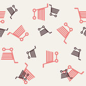 Seamless background: shopping, trolley — ストックベクタ