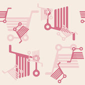 Seamless background: shopping, trolley — Vector de stock