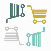 Seamless background: shopping, trolley — Stock Vector