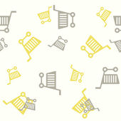 Seamless background: shopping, trolley — Cтоковый вектор