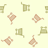 Seamless background: shopping, trolley — 图库矢量图片