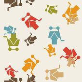 бесшовный фон: шоппинг, тележки, стрелка — Cтоковый вектор