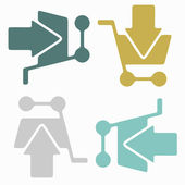 Seamless background: shopping, trolley, arrow — Stock Vector