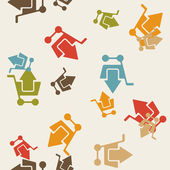 Seamless background: shopping, trolley, arrow — ストックベクタ