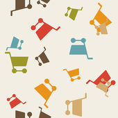 Seamless background: shopping, trolley — Vettoriale Stock