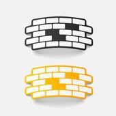 Élément de conception réaliste : brique, construction — Vecteur