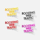 реалистка(ст) дизайн элемент: повышение веб-трафика — Cтоковый вектор