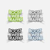Elemento di disegno realistico: aumentare il traffico web — Vettoriale Stock