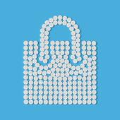 Pills concept: shopping, bag, package — Vector de stock